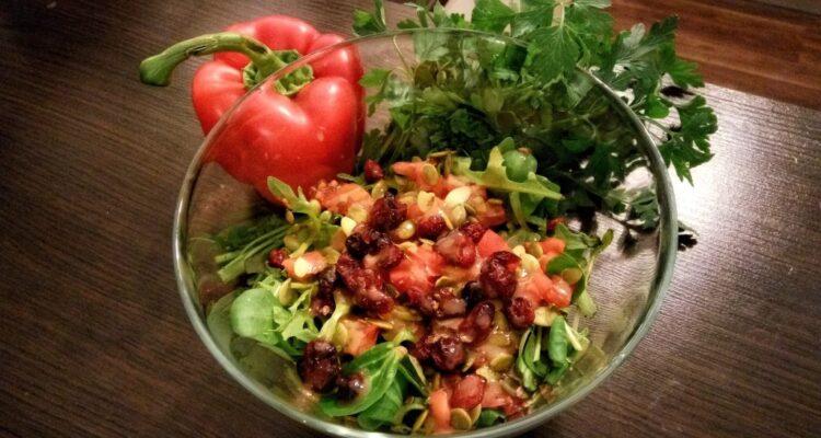 Sałatka warzywna z żurawiną i roszponką
